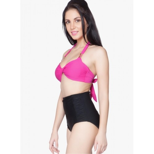 Nidhi Munim Pink and Black Solid Beachwear Halter Bikini set