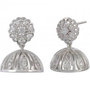 Muchmore Attractive American Diamond Cz Fashion Jewellery Traditional Jhumki for Womens Crystal Alloy Jhumki Earring