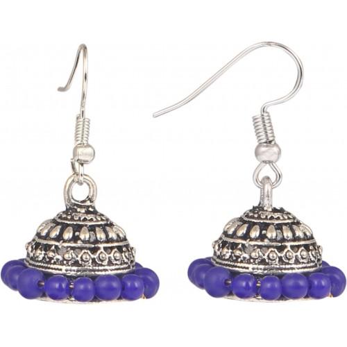 Sansar India Purple Beads Alloy Jhumki Earring