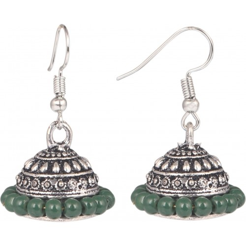 Sansar India Green Beads Alloy Jhumki Earring