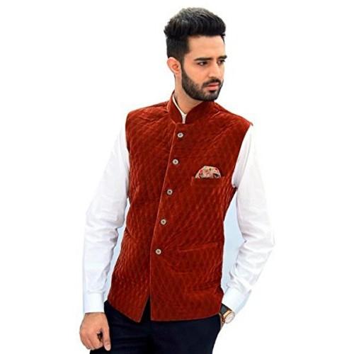 Buy Men In Class Velvet Slevesless Waistcoat Nehru Jacket Style 2