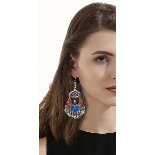 Sansar India Oxidized Peacock Afghani Metal Chandbali Earring