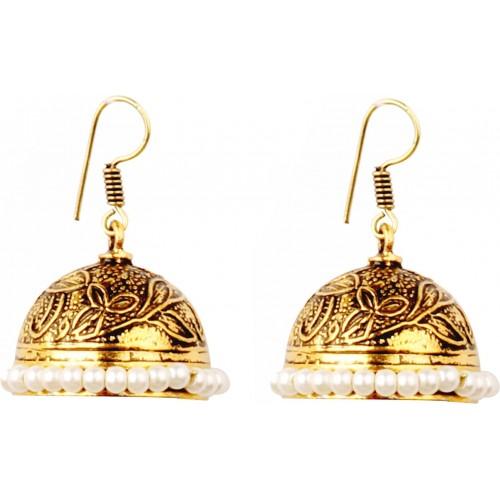 Sansar India White Beads Oxidized Metal Jhumki Earring