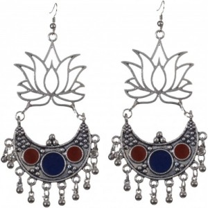 Sansar India Lotus Kuchi Afghani Metal Chandbali Earring