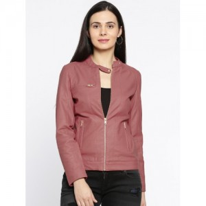 Ginger by Lifestyle Women Pink Solid Biker Jacket