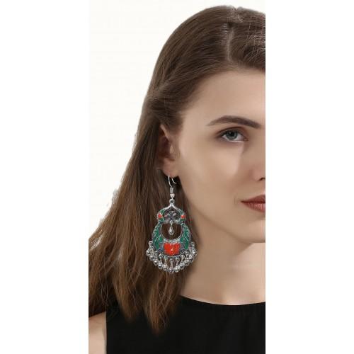 Sansar India Oxidized Peacock Afghani Metal Dangle Earring