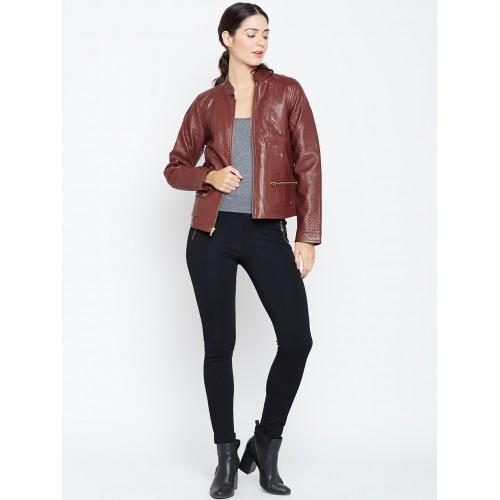 Duke Stardust Women Brown Faux Leather Biker Jacket