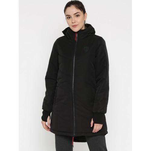 d83f71c2 Buy Puma Women Black Ferrari Vent Solid Padded Hooded Jacket ...