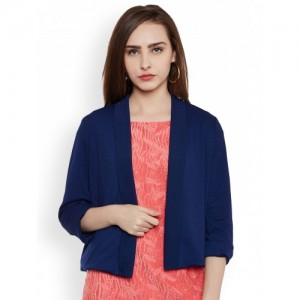 Latin Quarters Women Navy Blue Solid Open Front Jacket