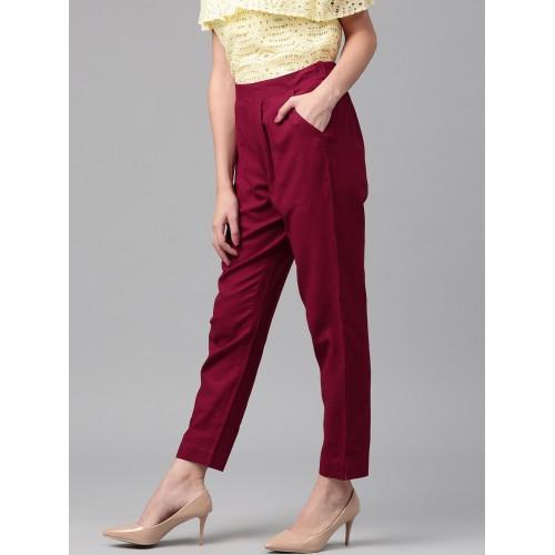 Jaipur Kurti Women Maroon Solid Trousers