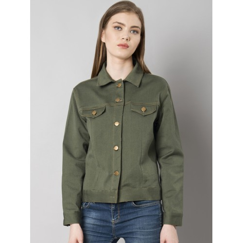e7bb32656 Buy FabAlley Women Olive Green Solid Denim Jacket online ...