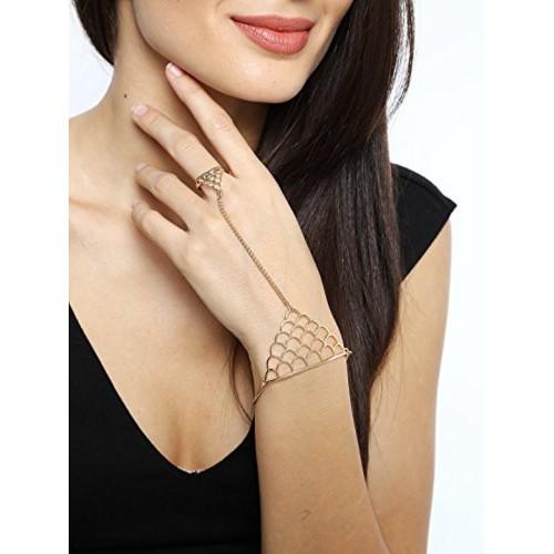 Cinderella Collection By Shining Diva Gold Metal Strand Bracelet Cum Ring For Girls / Women