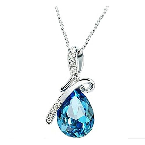 Valentine Gift by Shining Diva Blue Crystal Jewellery Combo of Necklace Set with Earrings and Bracelet for Women and Girls