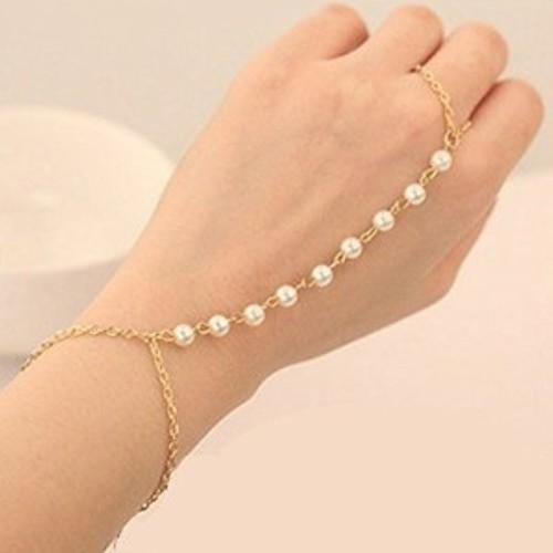 Cinderella Collection By Shining Diva Cinderella Stylish & Funky Golden Pearl Ring Strand Bracelets For Girls And Women