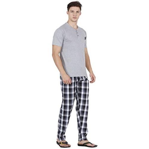 Maxis Grey Cotton Checked Top & Bottom Set Sleepwear