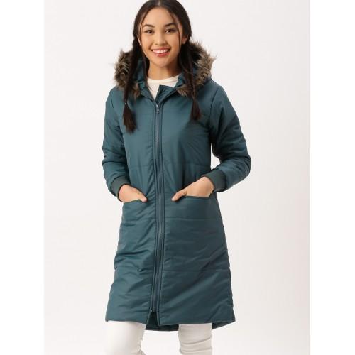 e4826790d31 Buy DressBerry Women Teal Blue Solid Longline Puffer Jacket online ...