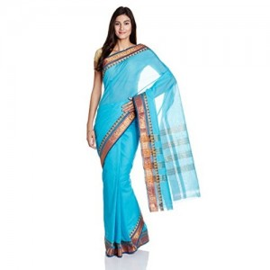 IndusDiva Blue Madurai Cotton Handloom Saree