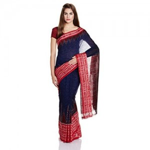 IndusDiva Blue Nuapatna Cotton Handloom Saree