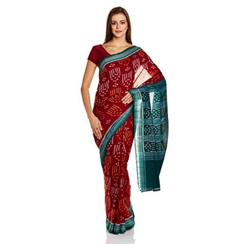 IndusDiva Red Sambalpur Ikat Cotton Handloom Saree