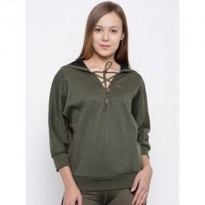 7987c16b6dae Puma Women Olive Green Solid Hooded Yogini Cropped Sweatshirt
