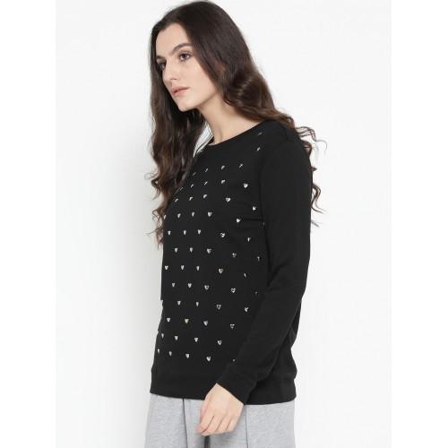 af77d916f7b Buy OVS Women Black Embellished Sweatshirt online
