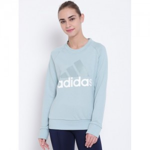 Adidas Women Green ESS LIN Brand Print Sweatshirt