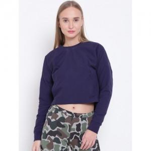 Adidas Women Navy Blue Cocoon Solid Crop Sweatshirt
