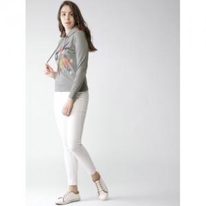 Mast & Harbour Women Grey Melange Printed Hooded Sweatshirt