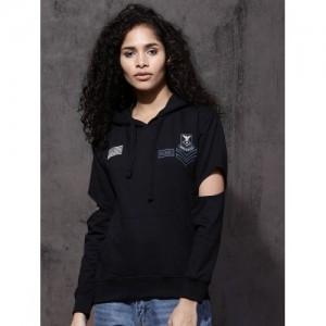 Roadster Women Black Solid Hooded Sweatshirt