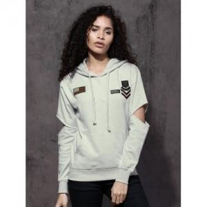 Roadster Women Grey Melange Solid Hooded Sweatshirt