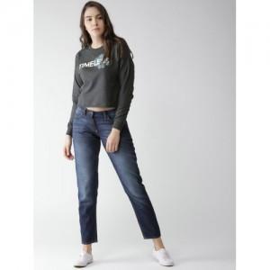 Mast & Harbour Women Charcoal Grey Printed Crop Sweatshirt