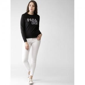 Mast & Harbour Women Black Self Design Sweatshirt
