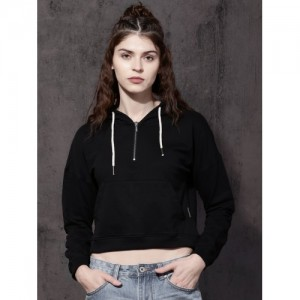 Roadster Women Black Solid Hooded Crop Sweatshirt