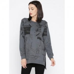Roadster Women Charcoal Grey Printed Sweatshirt