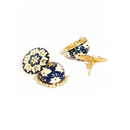 Rubans Gold-Toned & Blue Kundan Jhumkas