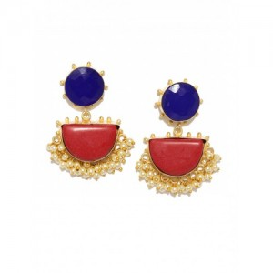Rubans Red & Blue Handcrafted Drop Earrings
