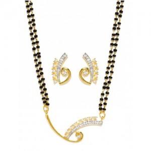 Sukkhi Gold & Rhodium-Plated Mangalsutra & Earrings Set