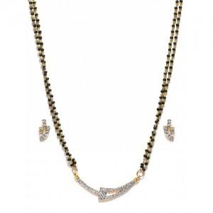 Zaveri Pearls Gold-Toned Mangalsutra & Earrings Set