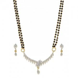 Sukkhi Gold-Plated & Stone-Studded Mangalsutra & Earrings Set
