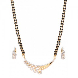 Sukkhi Black Gold-Plated CZ Stone-Studded Mangalsutra & Earrings Set