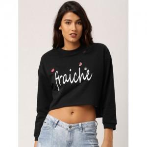 e2e8e3ed021b45 Ms.Taken by Kriti Sanon Women Black Printed Crop Sweatshirt