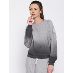 Reebok Grey Melange Y Cover Up Ombre-Dyed Yoga Sweatshirt