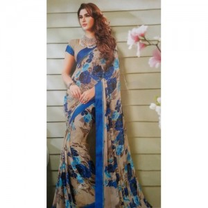 Vishal Print Blue & Cream Georgette Printed Saree With Blouse