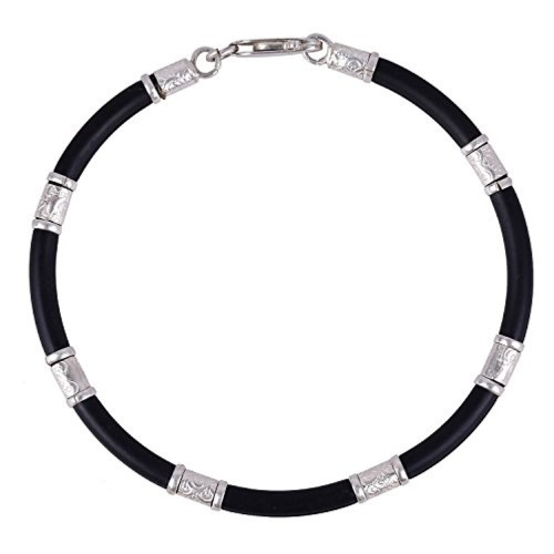 0b7fefdd682a3 Buy Trendy ARISIDH genuine 92.5 Pure sterling silver black rubber ...