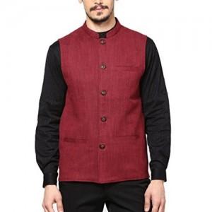Shaftesbury London Maroon Cotton Waistcoat