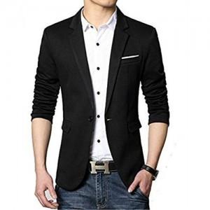 Belario Black Cotton Casual Cum Party Wear Blazer