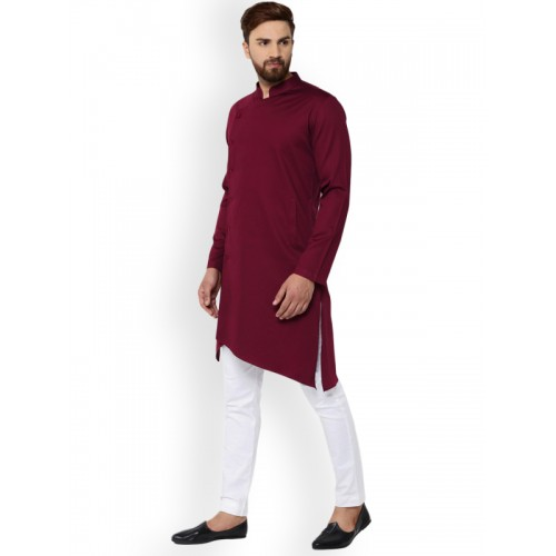 See Designs Men Burgundy Solid Straight Kurta