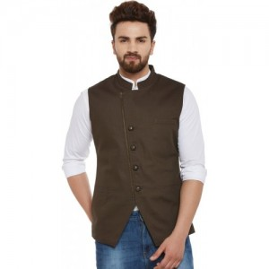 Hypernation Brown Cotton Solid  Waistcoat