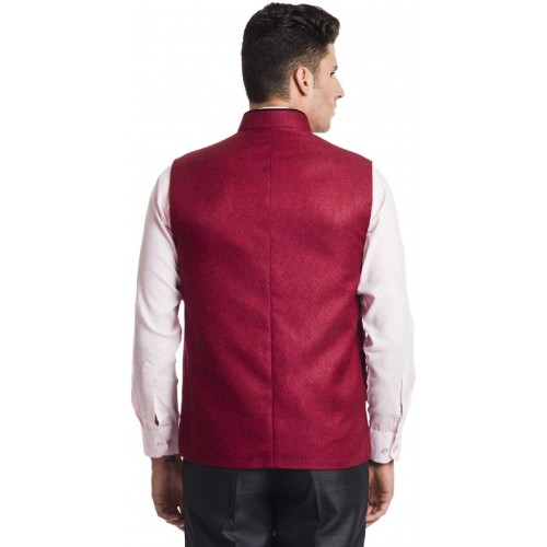 Akaas Maroon Jute Solid Sleeveless Nehru Jacket