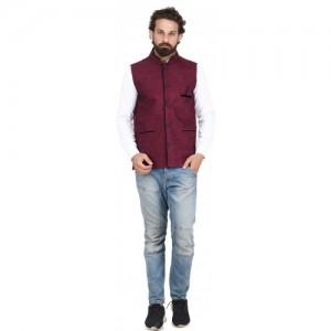 PSK Maroon Cotton Solid Nehru Jacket